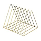 MagiDeal Nordic Minimalist Iron Wire Desktop Bookshelf Holder For Home Office Newspaper Magazine Organizing - A Gold, as described