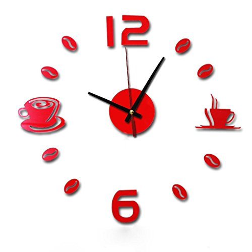 Alarm Clock,DIY 3D Wall Clock- Self Adhesive Interior Wall Sticker Decor-Digital Atomic Projection Alarm for Arrange Time-Good for Bedroom Office Ihome Desk,Grandfather and Kids (B)