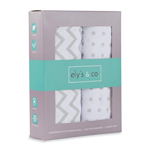 Changing Pad Cover Set , Cradle Sheet 2 Pack 100% Jersey Cotton Unisex Sheets for Baby Girl and Baby Boy Grey Chevron and Polka Dots by Ely's & Co. ()