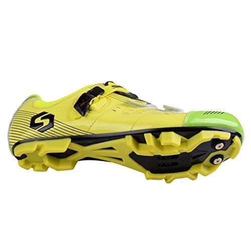 Herren/Mann Professionelle MTB Mountainbike Fahrrad schuhe Radsportschuhe (Wählen Sie eine Größe mehr als üblich) SD-003 Gelb / Grün