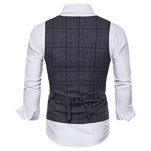 Slim Double Boutonnage Sans Costume Gilet Manches Homme Fit Gris Foncé Veste Xw10qxa