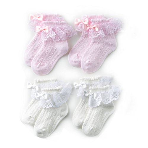 M&Z Baby Girl Newborn Lace Socks White/Pink Princess Cotton Socks 4 Pack