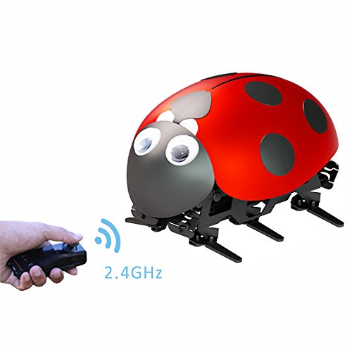 Toptrend Intelligent Robot Ladybug RC Cars Toys-DIY Radio Control Bionic Insect Toy 2.4GHz wireless remote Control With Rechargable (Ladybug Robot)
