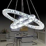 Cheap Saint Mossi Modern K9 Crystal Circular Raindrop Chandelier Lighting Flush mount LED Ceiling Light Fixture Pendant Lamp for Dining Room Bathroom Bedroom Livingroom H39″ X D24″