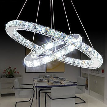 Saint Mossi Modern K9 Crystal Circular Raindrop Chandelier Lighting Flush mount LED Ceiling Light Fixture Pendant Lamp for Dining Room Bathroom Bedroom Livingroom H39