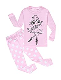 Pajamas For Girls Long Sleeve Pjs 100% Cotton Kids Clothes Size 12M-10 Years
