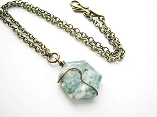 Green White Tree Agate Pendant Necklace Natural Stone Genuine Gemstone Jewelry for Women