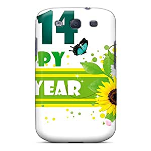 Slim Fit Tpu Protector Shock Absorbent Bumper Happy New Year 2014 With Flowers Case For Galaxy S3