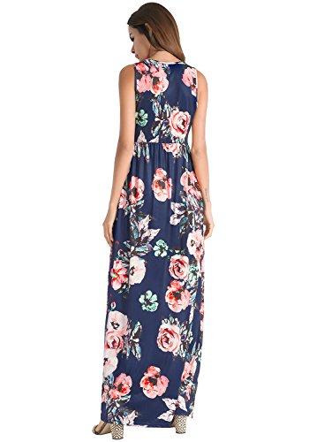 Ruiyige Damen Blumen Maxi Kleid Königsblau PYHunGe