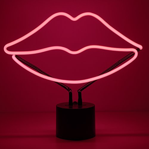Amped & Co, Lips Neon Light, Pink, Desk Lamp Decor, Large 11.9x13.5""