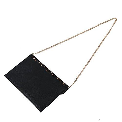 TOOGOO(R) donne Trend della borsa del ritaglio della spalla della busta nazionali Vintage frizione giorno sacchetto Borsello - Nero
