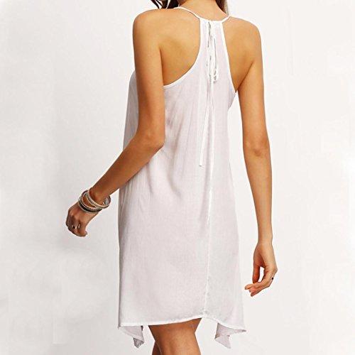 Blanc Party Robes LChe sans Grande Genou Slim Rond Dress ADESHOP lgant Jupe Robe Bohmien Mode Chic Mini Taille Au Lasticit Col IrrGulier Sling Femmes Impression Femmes Manches vFzq7xwTn