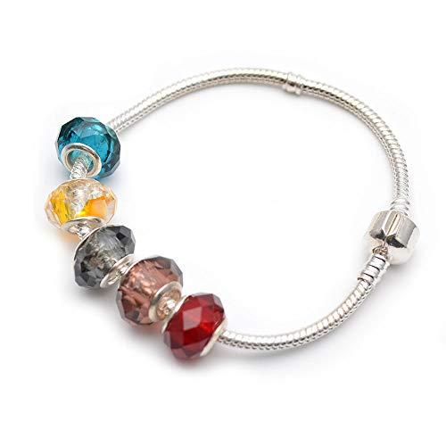 Buty-Bzi Big Hole Europe Glass Barrel Beads Snake Chains Bracelet Fashion Jewelry