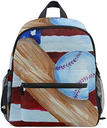 抽象野球アート幼児バックパックブックバッグミニショルダーバッグ1-6年旅行男の子女の子子供用チェストストラップホイッスル
