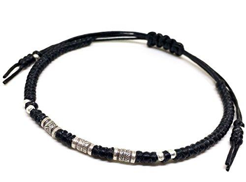 BUSABAN Asian Handmade Bracelet 925 Silver Feather Beads Black Wax String (Asian Silver Bracelet)