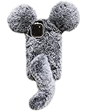 Ogmuk Fluffy Mouse Furry Case for iPhone 12 Mini,Cute Winter Warm Funny Mouse Tail Faux Fur Fuzzy Plush Soft TPU Back Case with Bling Diamond Shiny Case for Women Girls,Gray