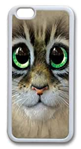 Big Eyes Kitten Face TPU Silicone Case Cover for iphone 6 plus 5.5 inch White