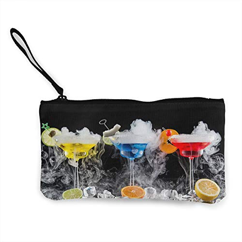 Oomato Canvas Coin Purse Drinks Cocktail Citrus Cosmetic Makeup Storage Wallet Clutch Purse Pencil Bag ()