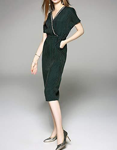 Vestidos Elegante Green Bolsillo Larga Pierna color Size Media Fiesta Elegantes Yajiemei Para A Manga Mujer De Xl Vestido Y V Con Divididos Green Cuello En qwO7Awx1