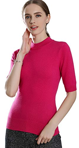 (Panreddy Women's Cashmere Knitted High Crewneck Half Sleeve Sweaters BGDX01 Rose red S)