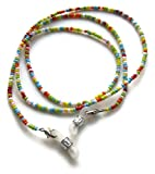 Silk Rose Women's Eyeglass Beaded Chain and Badge Holder for IDs and Cards, Multicolor