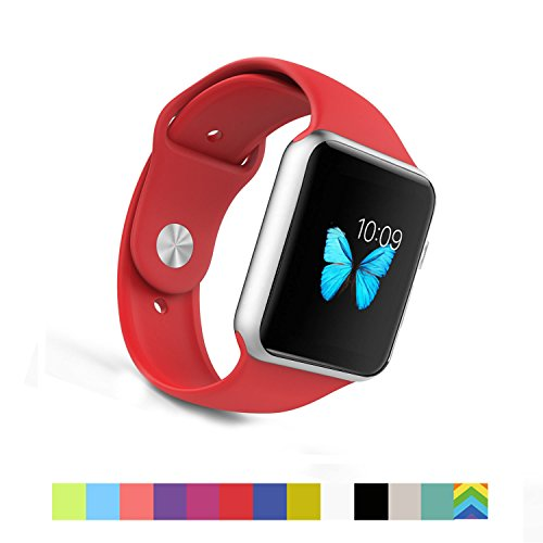 Photo - Apple Watch Band - WantsMall Soft Silicone Sport Style Replacement iWatch Strap for 42mm Apple Watch Models (Red)
