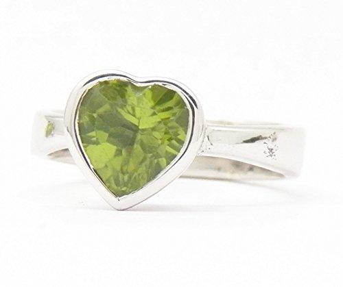 Fundamental Rockhound Products: Peridot Heart Gemstone Sterling Silver Ring