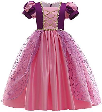 Nieuwe prinses Rapunzeljurk kostuum meisjes tule lange jurk kinderen verkleding Halloween cosplay party carnaval Kerstmis verjaardag geschenk bruidsmeisje maxijurk feestjurk maat 98140