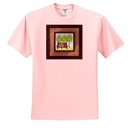 Price comparison product image 3dRose Beverly Turner Easter Design and Photography - Mother Rabbit Sitting On Bench Holding Baby Bunny,  Wood Frame - T-Shirts - Youth Light-Pink-T-Shirt XS(2-4) (TS_276188_43)