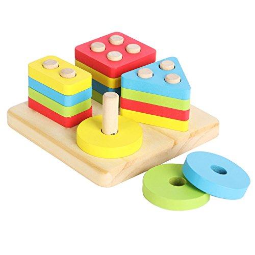Preschool Toys Product : Joyin toy in wooden educational shape color sorting