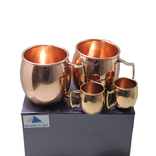 STREET CRAFT Gift Packed Handcrafted 100% Pure Copper Authentic Solid Copper Unlined Mug Cup Capacity 16 Oz Cups with Led free Handle Smooth Finish Set of 2 with Free 2 Short Mug
