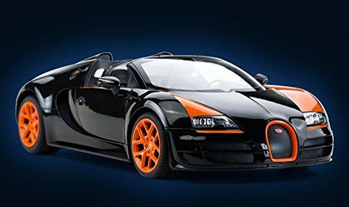 radio remote control 1 14 bugatti veyron 16 4 grand sport vitesse licensed rc model car black. Black Bedroom Furniture Sets. Home Design Ideas
