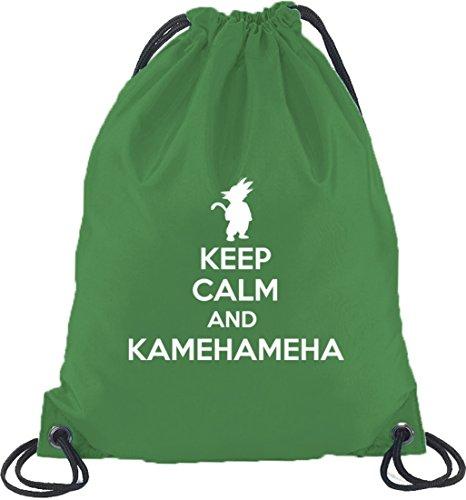Shirtstreet24, Keep Calm And Kamehameha, Turnbeutel Rucksack Sport Beutel Kelly Green