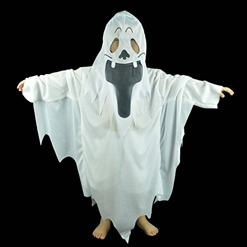 Velidy Kids Halloween Costumes Horror Props Clothing White Ghost Costumes with Mask (Toddler Friendly Ghost Costume)