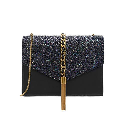 Charles & Keith PU Tassel Detail Envelope Bag Small Chain Strap Shoulder Handbag (Glitter Black)