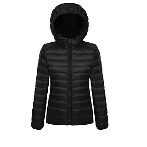 Short Hooded Jacket Coat Black Down Ultra Women's Lightweight Puffer 7naxxT