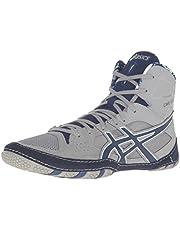 ASICS Men's Cael V7.0 Wrestling Shoe, Light Grey/Estate Blue/White, 6 D US