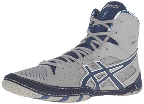 Penn State Wrestling - ASICS Men's Cael V7.0 Wrestling Shoe, Light Grey/Estate Blue/White, 8.5 M US