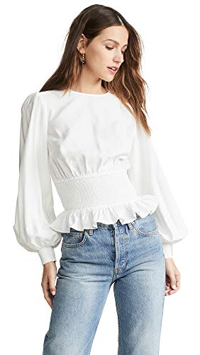 Keepsake The Label Women's Secure Long Sleeve Smocked Peplum Blouse Top, Ivory, - Dolman Sleeve Smocked Top