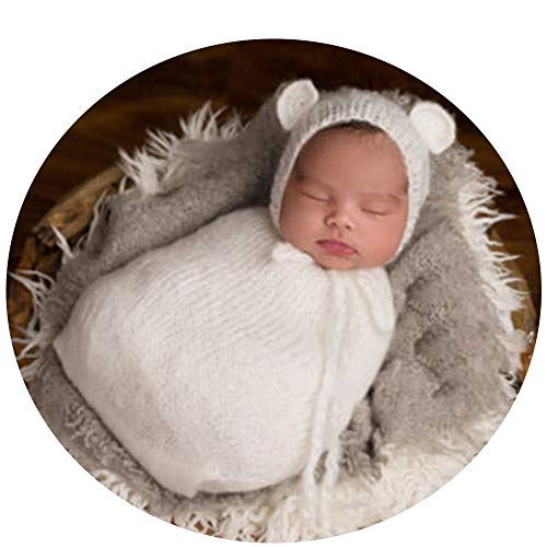 MUTONG Newborn Baby Boy Girl Photography Photo Props Outfits Crochet Knitted Cute Hat Sleeping Bag (White) by MUTONG