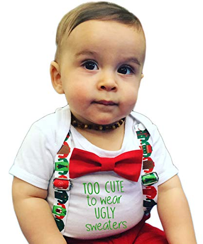 Noah's Boytique Christmas Outfit Baby Boy Ugly Sweater Party Funny Suspenders Bow Tie 18-24 Months ()
