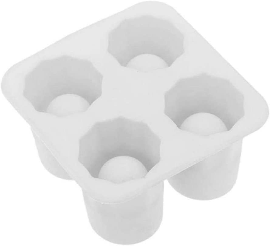 Bebida de cerveza fría del cubo de hielo de silicona en forma de cubo de hielo bandeja 4 taza del molde de hielo tiradores Molde del hielo del partido del verano Glass Bar,blanco