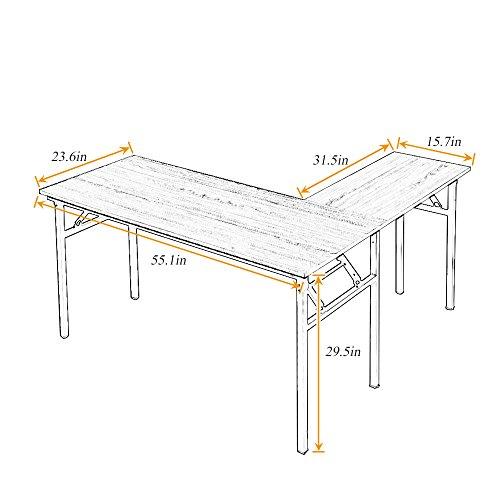 Need 55'' x 55'' L-Shaped Folding Computer Desk, One-Step Assembly, L Desk Home Office Desk Workstation Desk, Teak AC11BB by Need (Image #2)