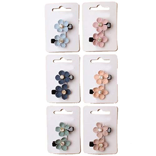 Rimi Hanger Girls Fabric Flower Motif Clips with Diamante Centre Clip Accessories Pack of -