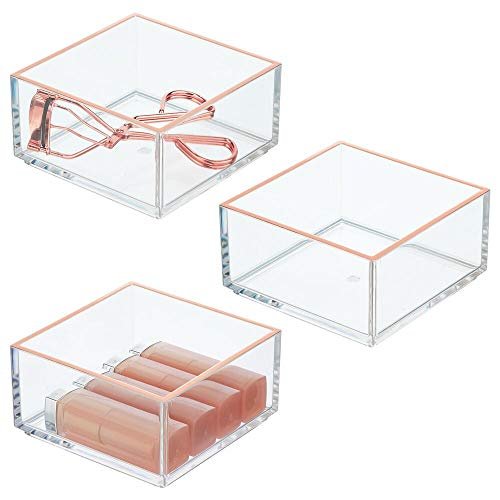 mDesign Small Plastic Makeup Organizer for Bathroom Drawers, Vanity, Countertop - Storage Bins for Eyeshadow Palettes, Lipstick, Lip Gloss, Blush, Concealers, Hair Ties - 3 Pack - Clear/Rose Gold