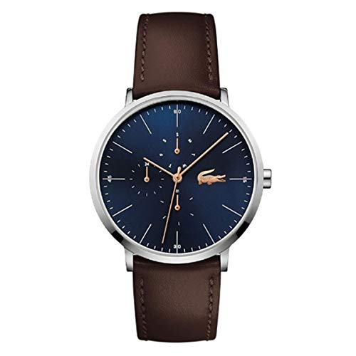 Lacoste Men's 38mm Brown Leather Band Steel Case Quartz Blue Dial Analog Watch 2010976