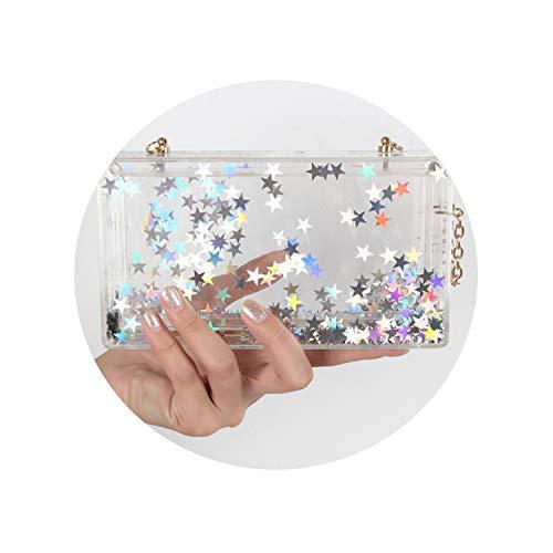 Stars Acrylic Box Evening Clutch Bag Chain Shoulder Handbag Crossbody Hardcase Bag Wedding Party Prom Purse,2