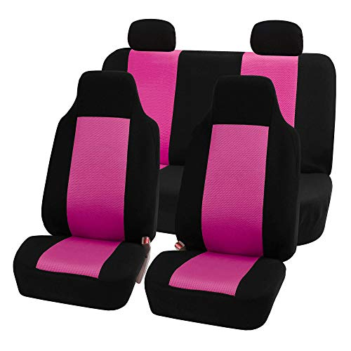 Mitsubishi Cover Seat Car Covers - FH Group FB102114 Classic Full Set High Back Flat Cloth Car Seat Covers,Pink/Black- Fit Most Car, Truck, SUV, or Van