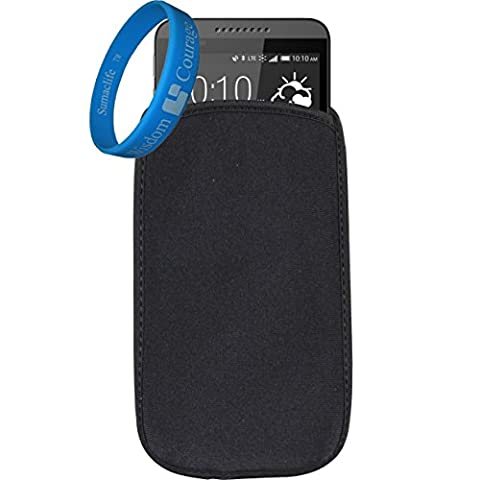 Universal Neoprene Protective Shock Absorbing Proof Pouch / Sleeve / Skin / Cover for HTC One Mini / Nokia Lumia 900 / 822 / LG Tribute Fit up to 5.1 inch Ios Android Windows smart Phone (Black) + SumacLife Wisdom Courage (Nokia Lumia 822 Jelly Case)