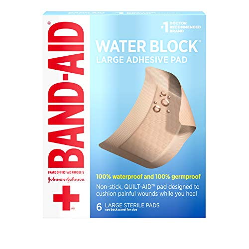 Band Aid Brand First Aid Products Water Block Non-Stick Sterile Waterproof Pads, Large 2.9 by 4 Inches, 6 ()